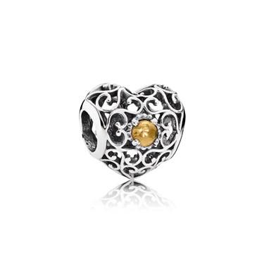 Pandora November Signature Heart Birthstone Charm  - Click to view larger image