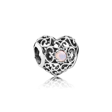 Pandora October Signature Heart Birthstone Charm  - Click to view larger image
