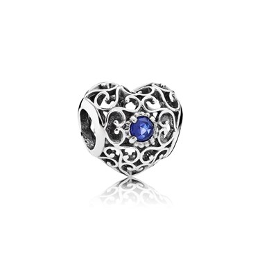 PANDORA September Signature Heart Birthstone Charm  - Click to view larger image