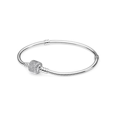 Pandora Moments Silver Signature Clasp Bracelet  - Click to view larger image