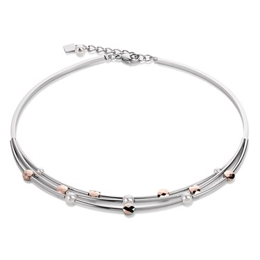Coeur De Lion Steel Pearl Rose Gold Necklace