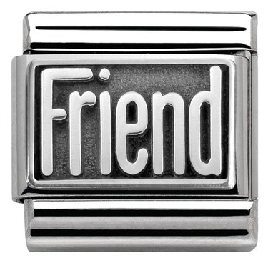 Nomination Silver Oxidised Friend Charm  - Click to view larger image