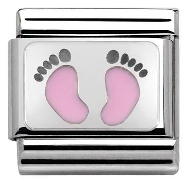 64e3106242528 Nomination Baby Pink Footprints Charm   Argento.com