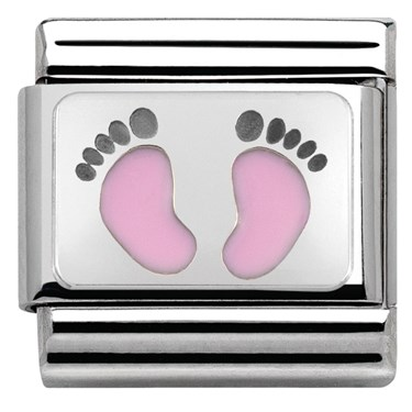 Nomination Baby Pink Footprints Charm  - Click to view larger image
