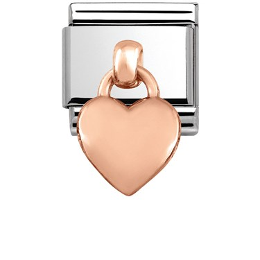 Nomination Rose Gold Hanging Heart Charm  - Click to view larger image