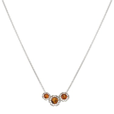 Argento Amber Cut Out Flowers Necklace