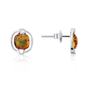 Argento Amber Curved Square Stud Earrings