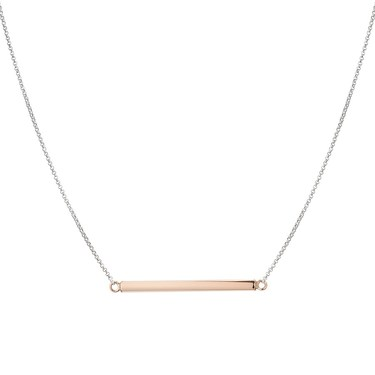 Argento Silver and Rose Gold Bar Necklace  - Click to view larger image