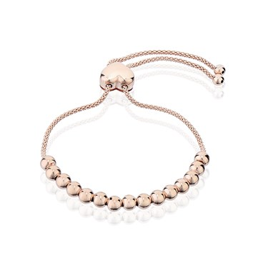 Argento Rose Gold Beaded Heart Pull Friendship Bracelet Click To View Larger Image