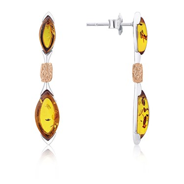 Argento Amber Mix Drop Earrings