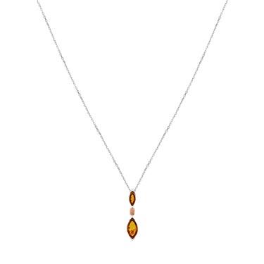 Argento Amber Eye Shaped Necklace