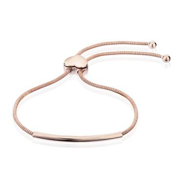 Argento Rose Gold Rounded Bar Heart Pull Friendship Bracelet