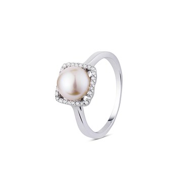 Argento Square Cubic Zirconia Pearl Ring