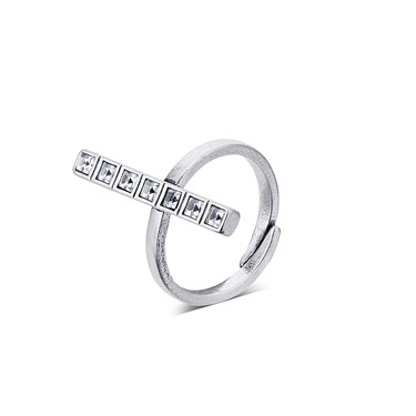 August Woods Silver Crystal Squares Ring