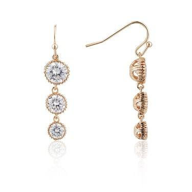 August Woods Rose Gold Three Drop Earrings  - Click to view larger image