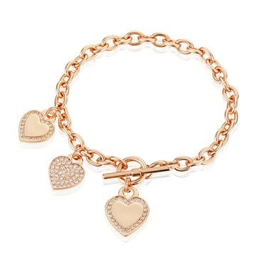 August Woods Outlet  Rose Gold Three Heart Bracelet