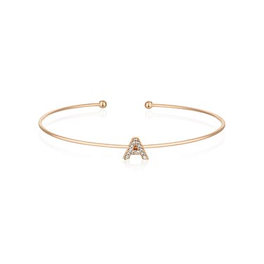 Dirty Ruby Rose Gold Crystal Letter A Bangle