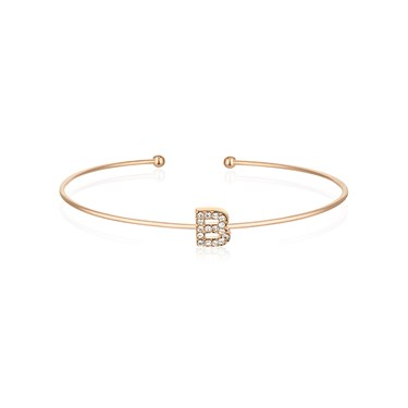Dirty Ruby Rose Gold Crystal Letter B Bangle