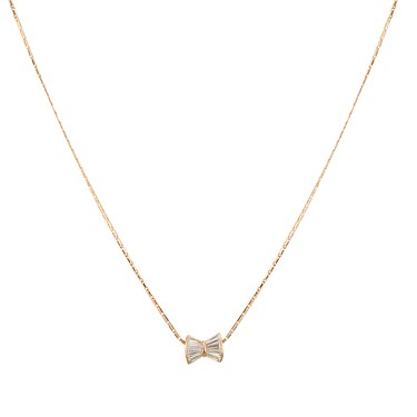 Dirty Ruby Rose Gold Small Bow Necklace