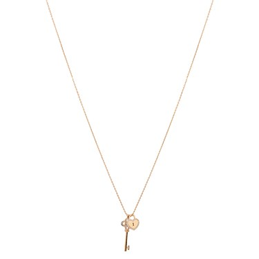 August Woods Rose Gold Lock and Key Necklace