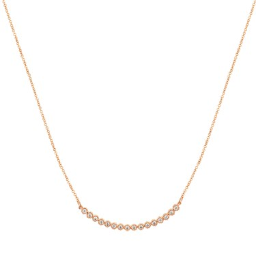 Dirty Ruby Rose Gold Rounded Bar Necklace