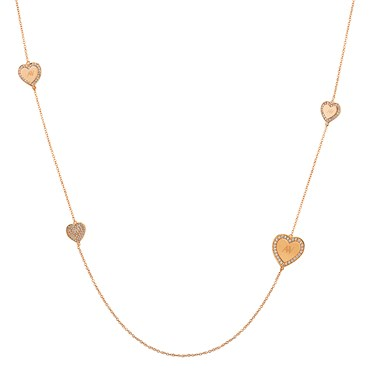 August Woods Long Rose Gold Hearts Necklace