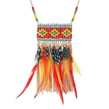 Dirty Ruby Beaded Feather Statement Necklace