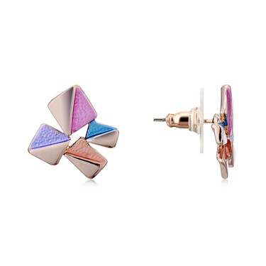 August Woods Rose Gold Geometric Squares Stud Earrings