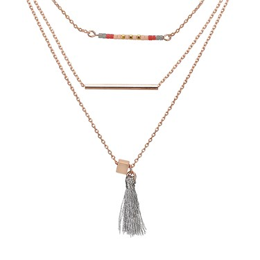 Dirty Ruby Rose Gold Layered Boho Necklace