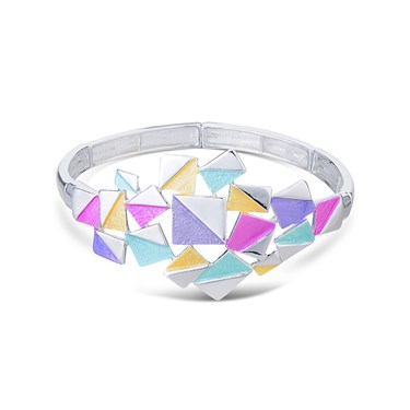 August Woods Silver Geometric Squares Bracelet