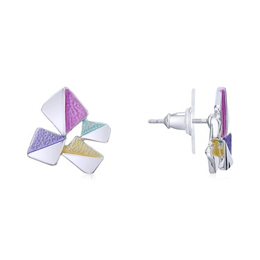 August Woods Silver Geometric Squares Stud Earrings