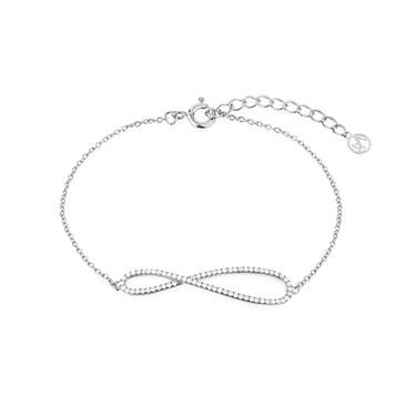 Argento Silver Crystal Elongated Infinity Bracelet