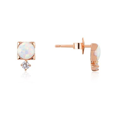 Argento Rose Gold Opal Crystal Stud Earrings  - Click to view larger image