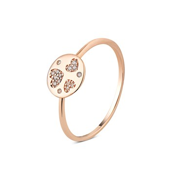 Argento Rose Gold Three Hearts CZ Ring