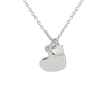 Argento Sparkling Silver Opal Heart Necklace