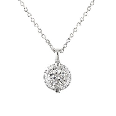 Argento Solitaire Halo Border Crystal Necklace  - Click to view larger image