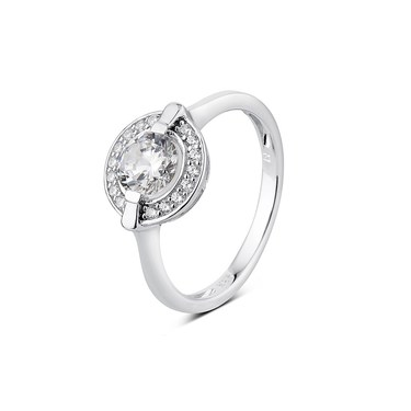 Argento Solitaire Halo Border CZ Ring  - Click to view larger image
