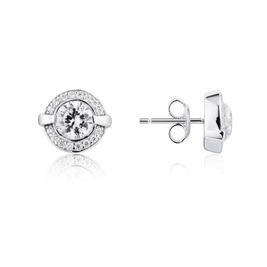 Argento Solitaire Halo Crystal Stud Earrings  - Click to view larger image