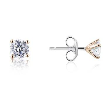 Argento Solitaire Rose Gold Mix Crystal Stud Earrings  - Click to view larger image
