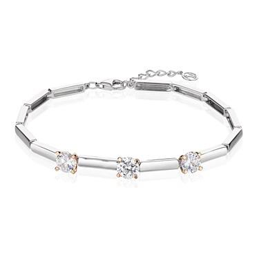 Argento Solitaire Rose Gold Mix Three CZ Bracelet