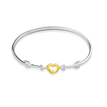 Argento Outlet Gold Mix Heart Double Arrow Bangle