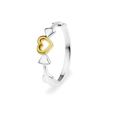 Argento Gold Mix Heart Double Arrow Ring