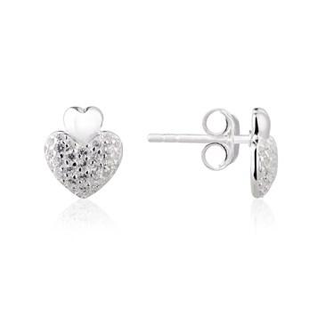 Argento Cushion Heart Pave Earrings
