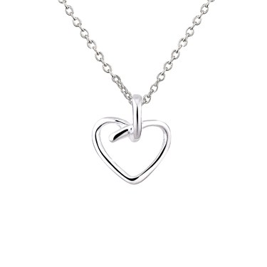 Argento Open Knotted Heart Necklace