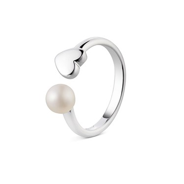 Argento Heart & Pearl Ring