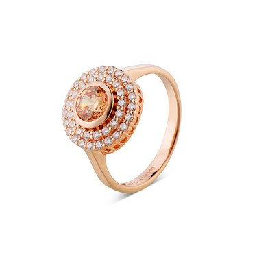 Argento Rose gold Champagne Crystal Halo Ring