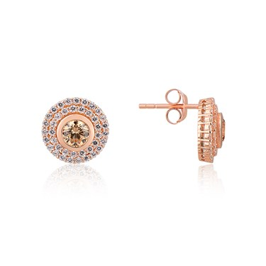 Argento Rose gold Champagne Crystal Halo Earrings