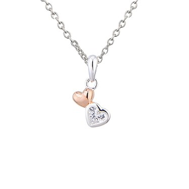 Argento Rose Gold And Silver Hearts Necklace   - Click to view larger image