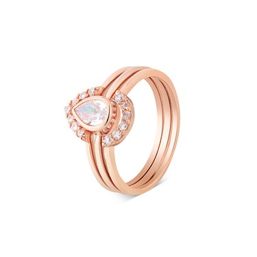 Argento Rose Gold CZ Three Rings in One