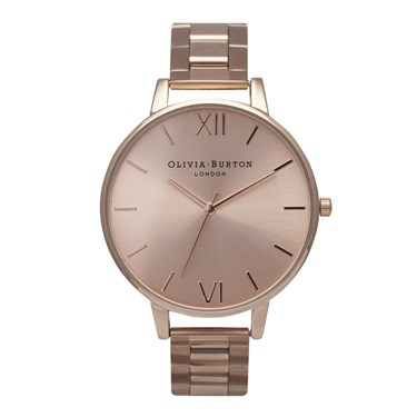 Olivia Burton Rose Gold Big Dial Bracelet Watch  - Click to view larger image